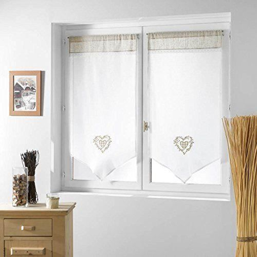rideau couleur montagne paire de voilage brod avec dentelle th me agathe 60 x 120 cm. Black Bedroom Furniture Sets. Home Design Ideas