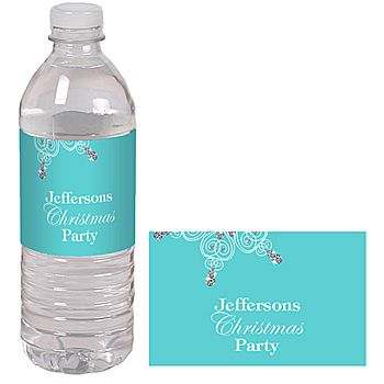 Snowflakes and Diamonds Water Bottle Labels