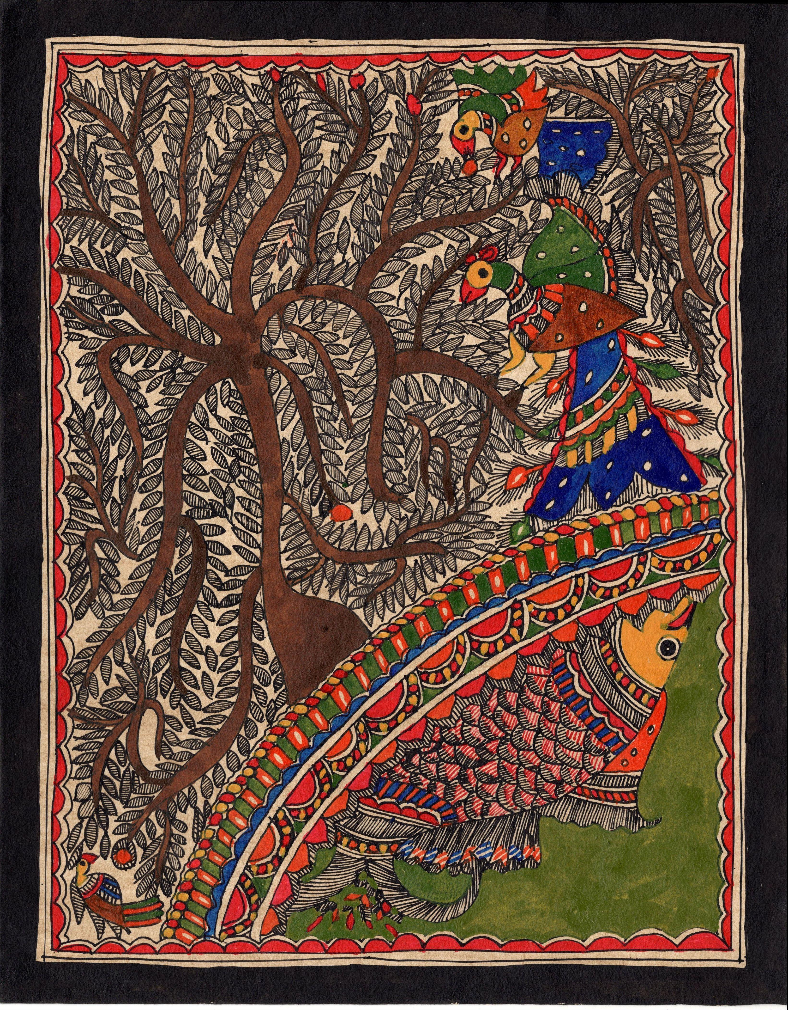 Madhubani Flora Fauna Art Handmade Indian Tribal Folk Mithila Decor
