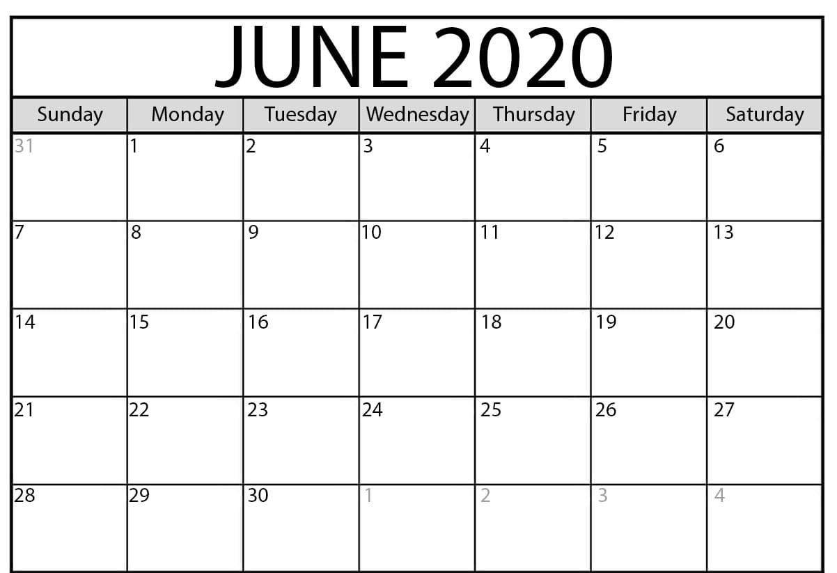 June Calendar 2020 Blank Editable Printable Template In 2020
