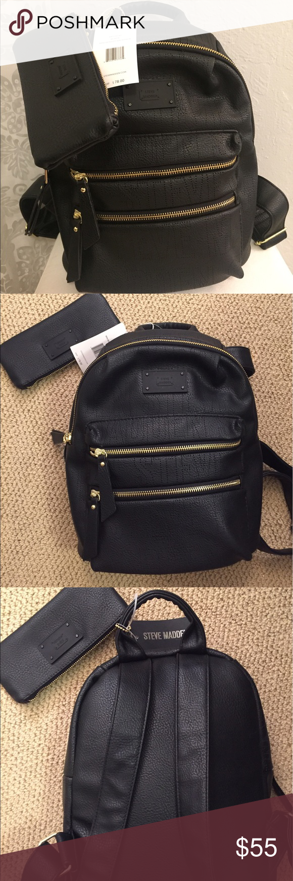 75b37f01e69 Steve Madden Black and Gold Backpack Black and gold never been used ...