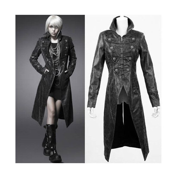 Cool Women Black Leather Military Goth Style Long Jacket Trench ...