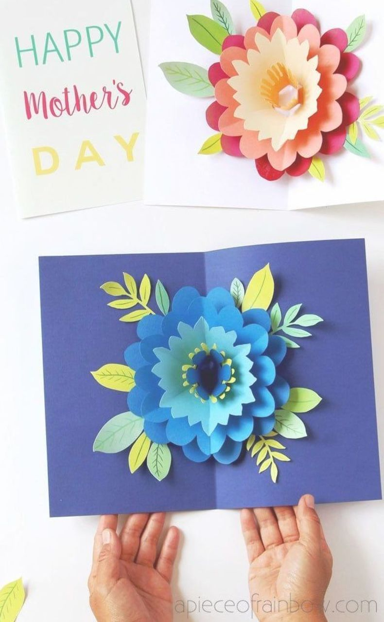 Easy Diy Happy Mother S Day Card With Beautiful Big Pop Up Flower