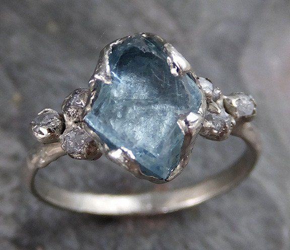 Raw Uncut Aquamarine Diamond Gold Engagement Ring Wedding