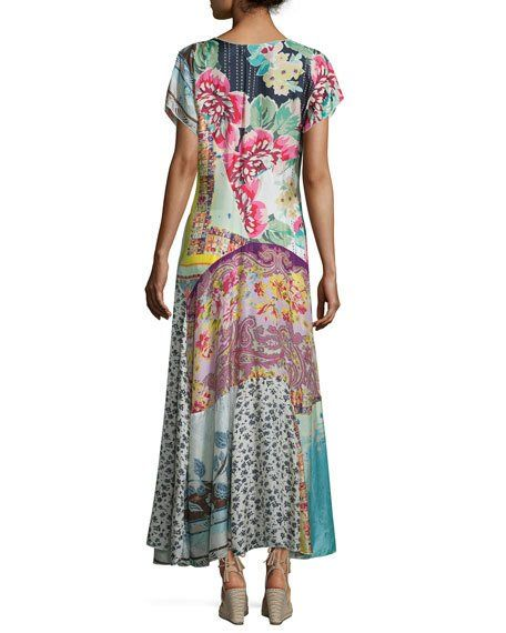 Johnny Was Printed Georgette Maxi Dress | Petite maxi ...