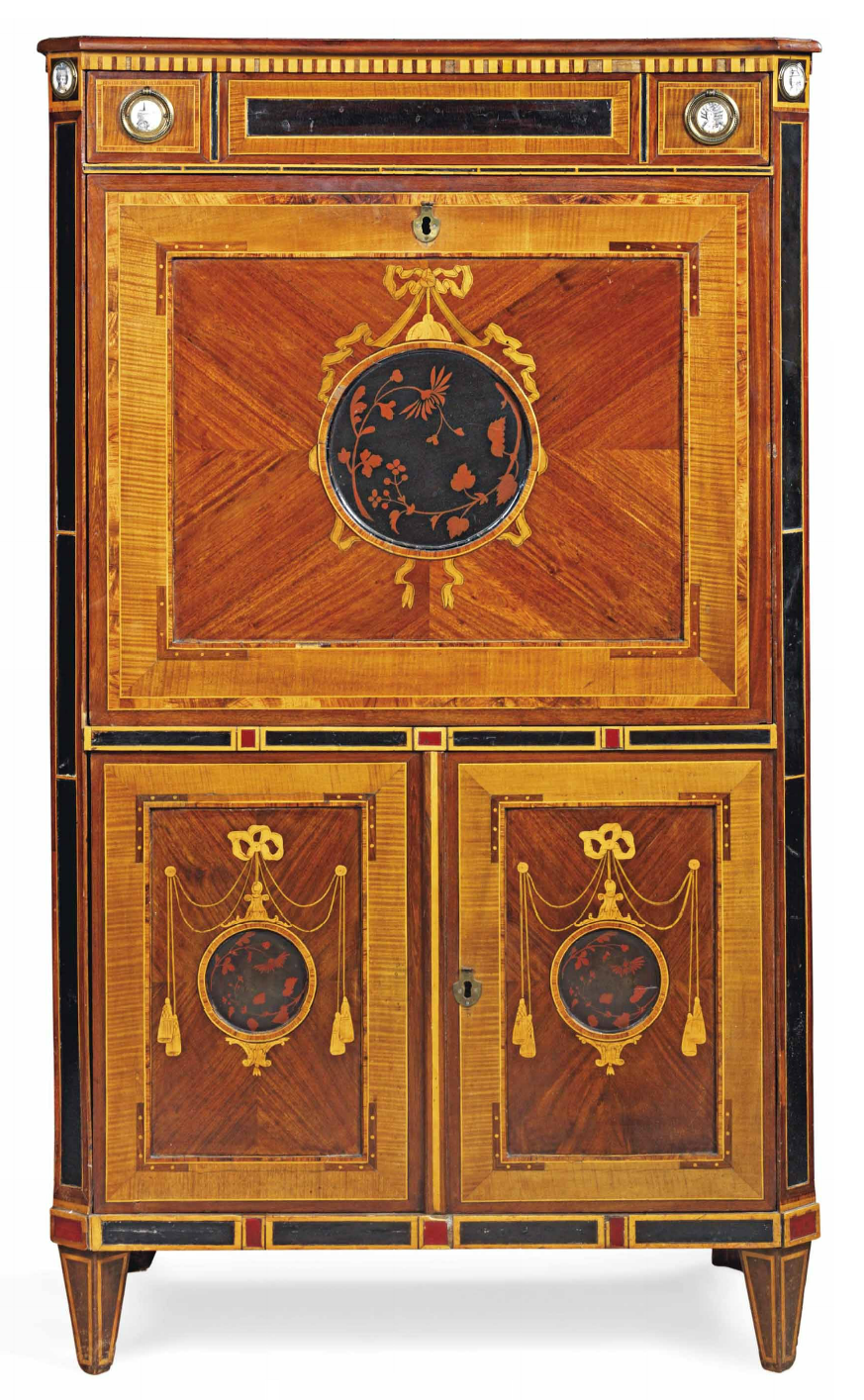 A DUTCH INLAID LACQUER AND japanned satinwood AND FRUITWOOD MARQUETRY SECRETARY SEAT LATE 18TH CENTURY The canted rectangular top with frieze drawer, inset with enamel medallions depicting portraits, above a hinged fallfront inset with a ribbon-tied circular panel depicting flowers, enclosing a fitted interior with drawers and compartments, above two doors with inset circular further Top ribbon-tied panels depicting flowers, forehead tapering legs, with dealers label to the reverse on square