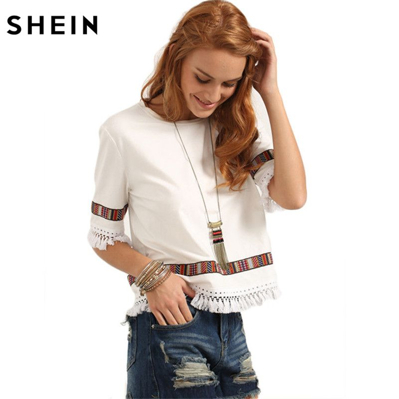 68428f6a07aa46 Beige Vintage Embroidered Fringe Blouses Casual Tops Half Sleeve Patchwork  Blouse