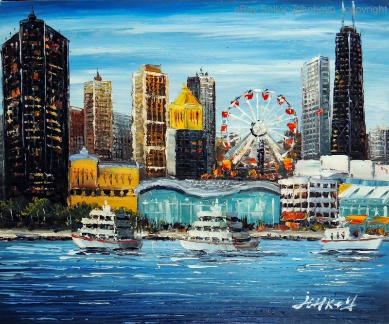 Painting Chicago Downtown Navy Pier Amusement Shopping Lake Michigan 20x24 Oil Painting Https Rover Ebay Com Rover 1 7 Downtown Chicago Navy Pier Painting