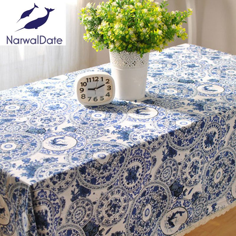 Chinese Blue And White Porcelain Rectangular Printing Tablecloth