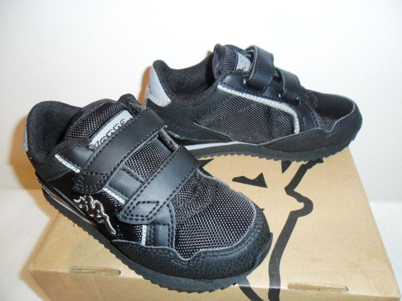 later best service get online Kids Trainers Boys Kappa Assisi Velcro Black Grey UK Child Size 10 ...