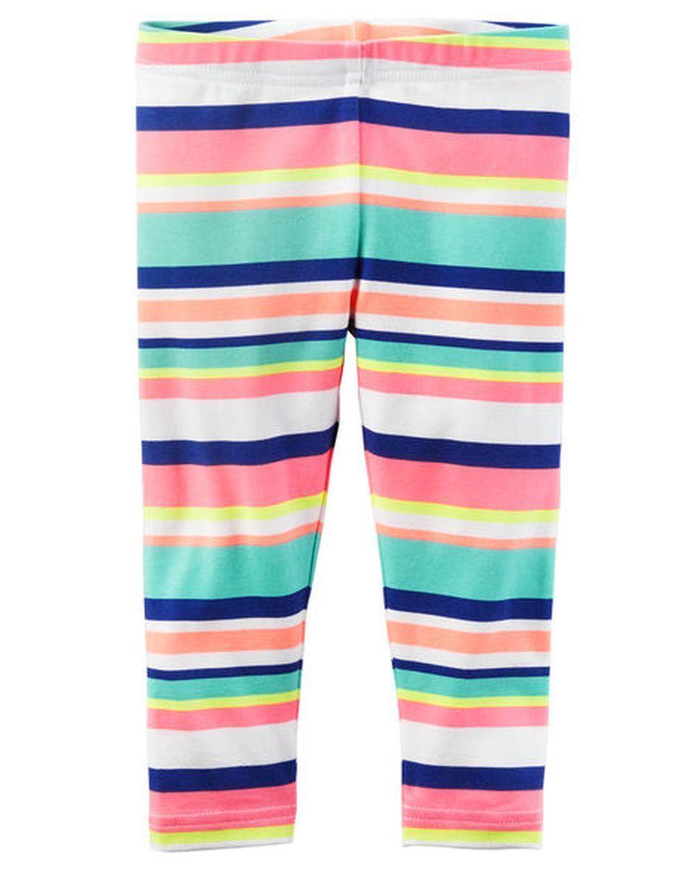 1696dfd1220f1 Carter's Bright Stripes Capri Leggings Stretch Nwt 2T 3 4T 5T 5 6 7 8 Girls
