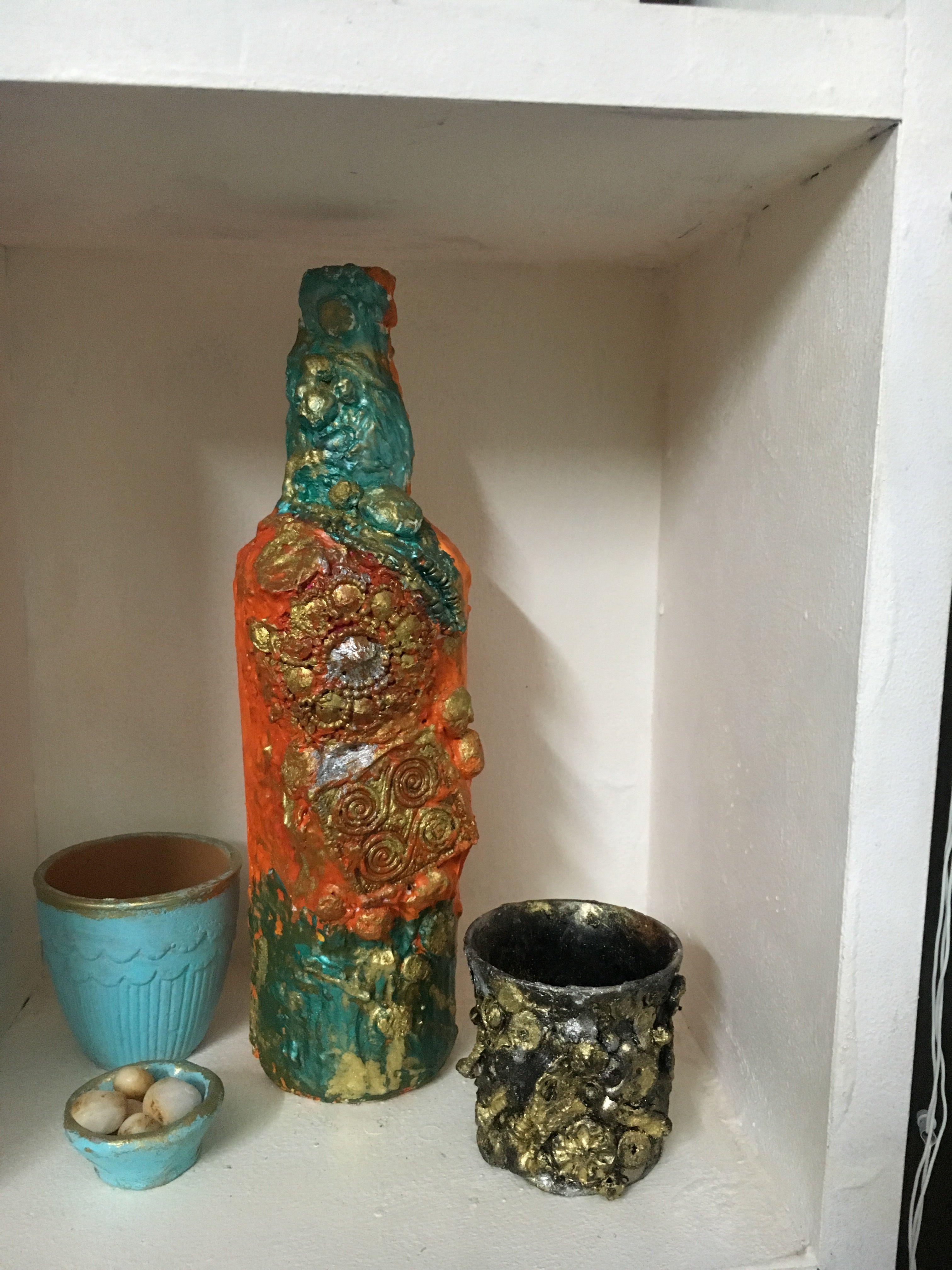 Broken cup craft bottles decoration black vase cup crafts