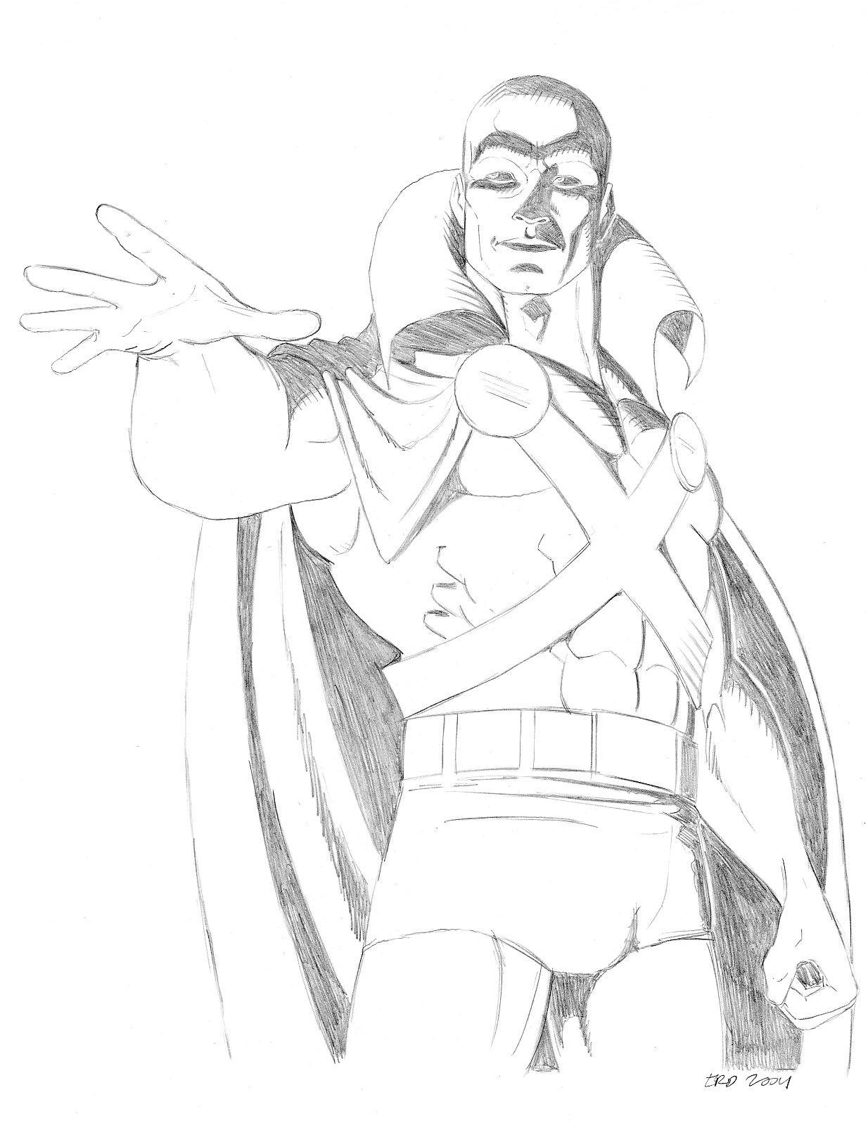 Martian Manhunter Coloring Books Line Art Superhero
