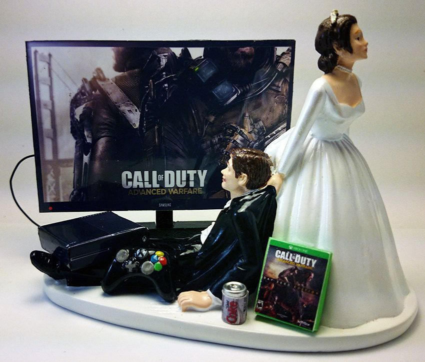 Call Of Duty Advanced Warfare Funny Wedding Cake Topper Bride And Groom By Pieceofcaketoppers4u