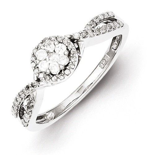 Sterling Silver Diamond Cluster Halo Twist Promise Ring Sparkle