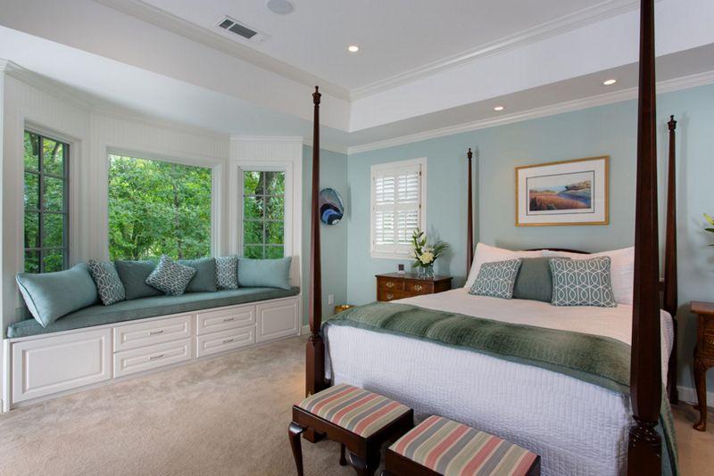 Blaues Schlafzimmer ~ Beeindruckende erker mit sitzplätzen im schlafzimmer
