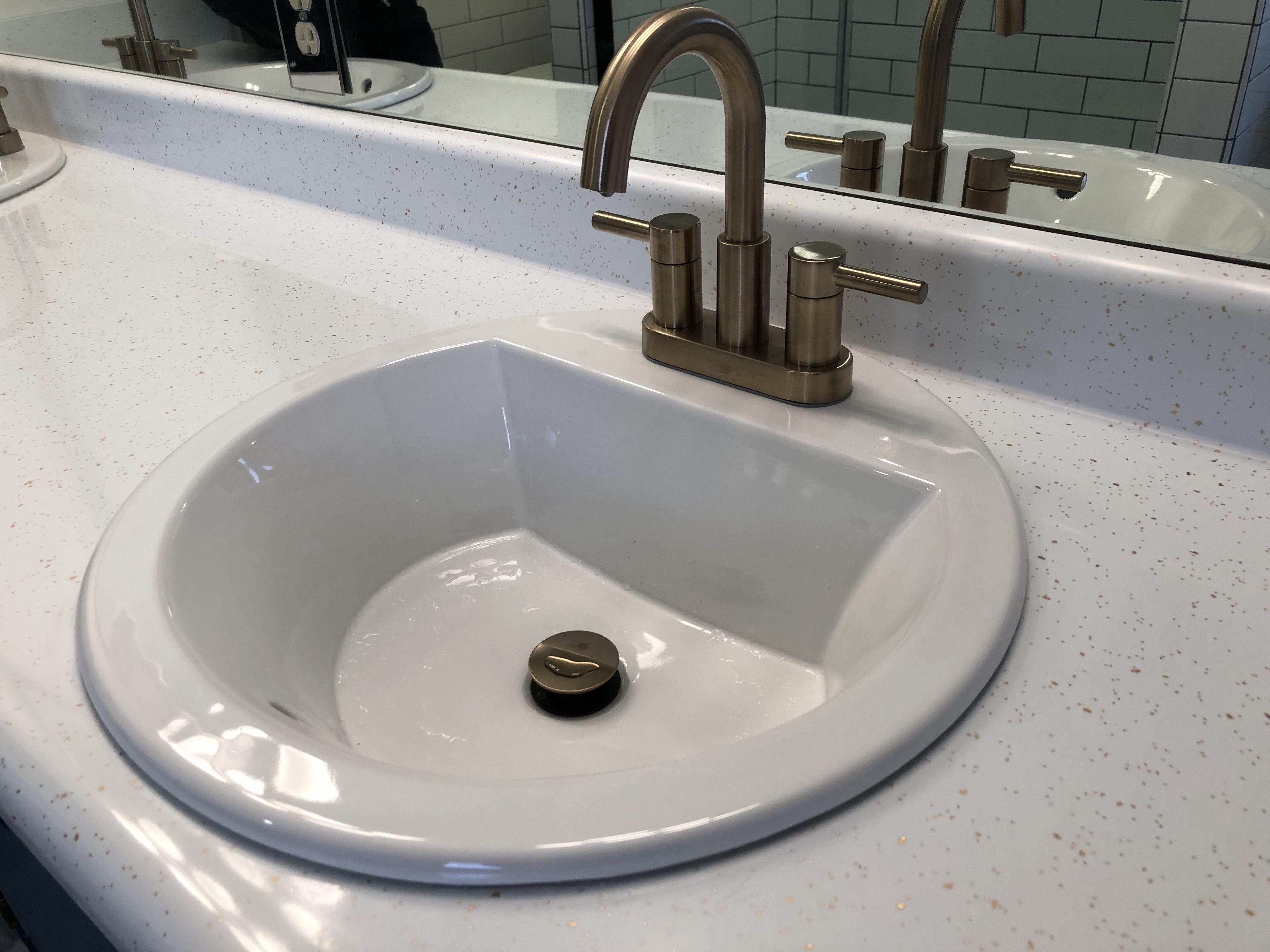 Kohler Bryant White Drop In Round Bathroom Sink With Overflow Drain 18 875 In X 18 875 In Lowes Com Sink Bathroom Sink Round Sink How to install a drop in bathroom sink