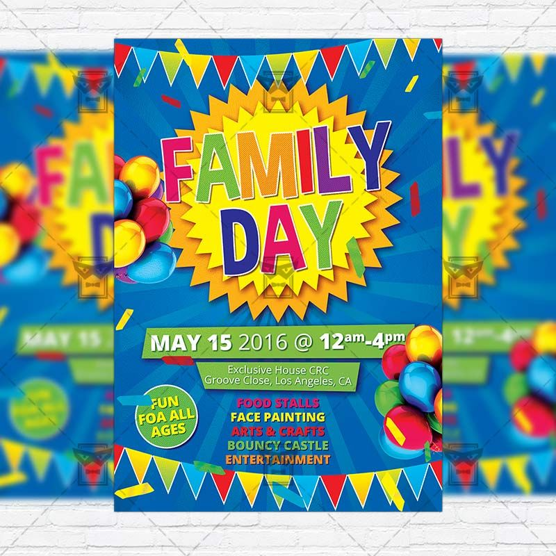 Family Day - Premium Flyer Template + FRRE BONUS Instagram Size - fun poster templates