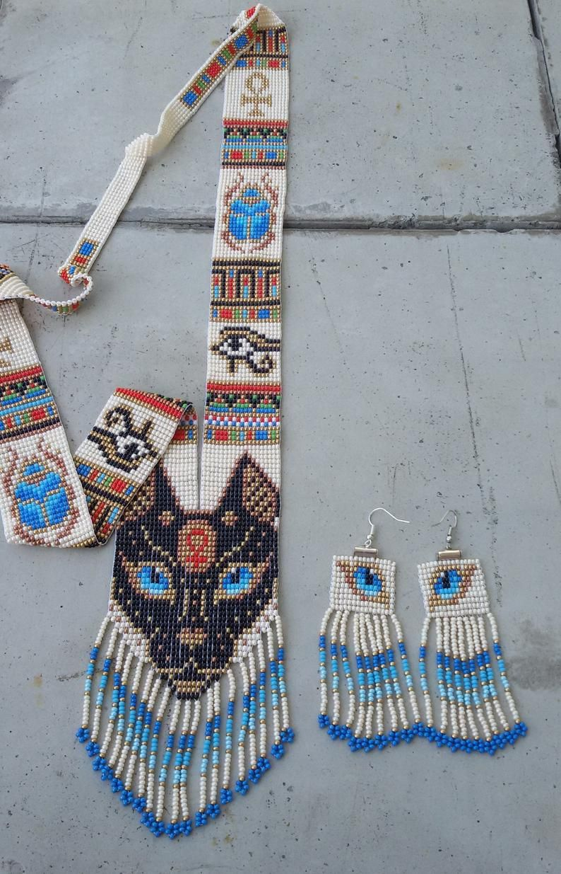 necklace and earrings set, Egypt lovers gift, Egyptian