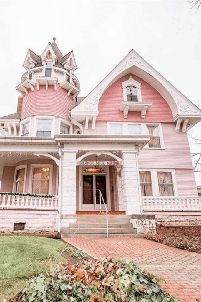 1880 Queen Anne For Sale In Ligonier Indiana is part of Victorian homes, Queen anne, Victorian style homes, Pretty house, House, Pink houses - CLICK HERE 1880 Queen Anne For Sale In Ligonier Indiana  $280,000  Hand original painted murals, mosaic tiled fireplace, large grand staircase