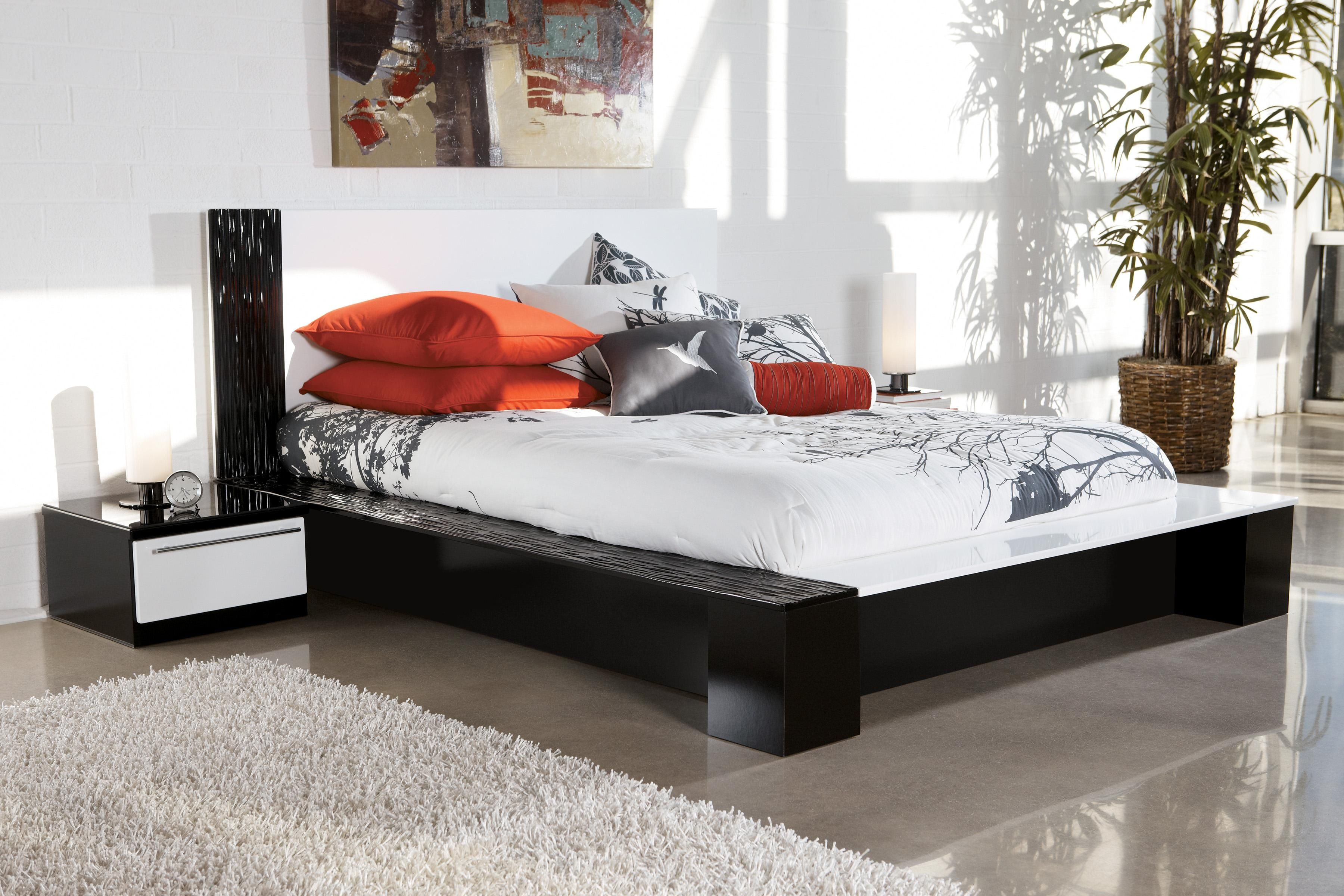 Metro Bedroom Furniture Piroska Queen Metro Modern Black White Platform Bed By Ashley