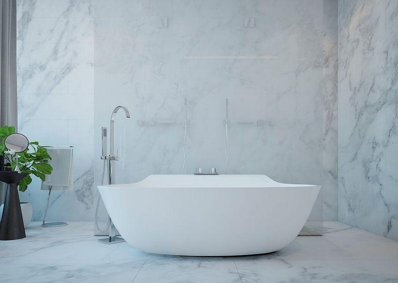 freistehende badewanne im luxuriösen marmor-bad | ideeën voor het, Innenarchitektur ideen