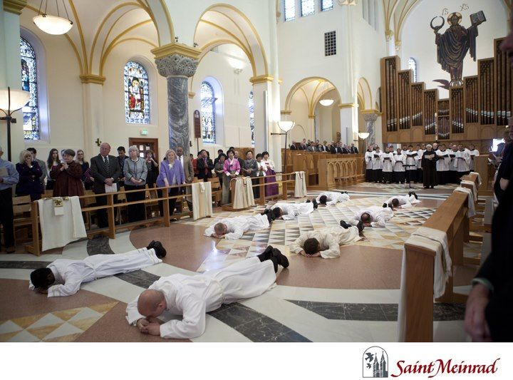 Candidates Lie Prostrate Prior To Being Ordained As Transitional Deacons In The Archabbey Church On April 6 2013