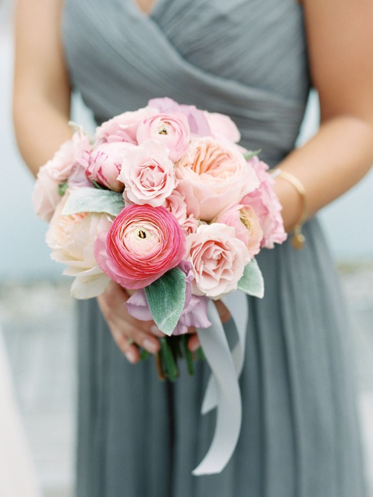 Blush pink and soft gray wedding #bridesmaid #blushbouquet #graywedding #blushwedding