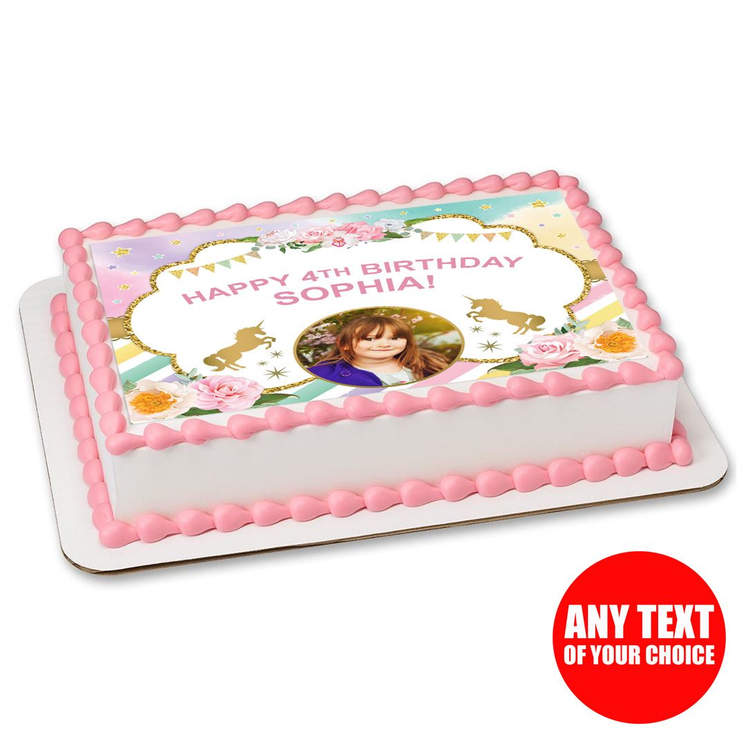 Unicorn Photo Personalizable Edible Icing Party Supplies