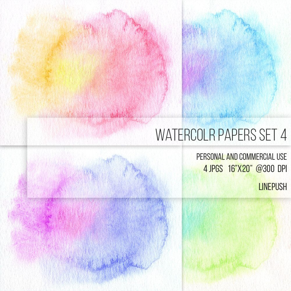 Sale Watercolor Papers Digital Papers Background Rainbow