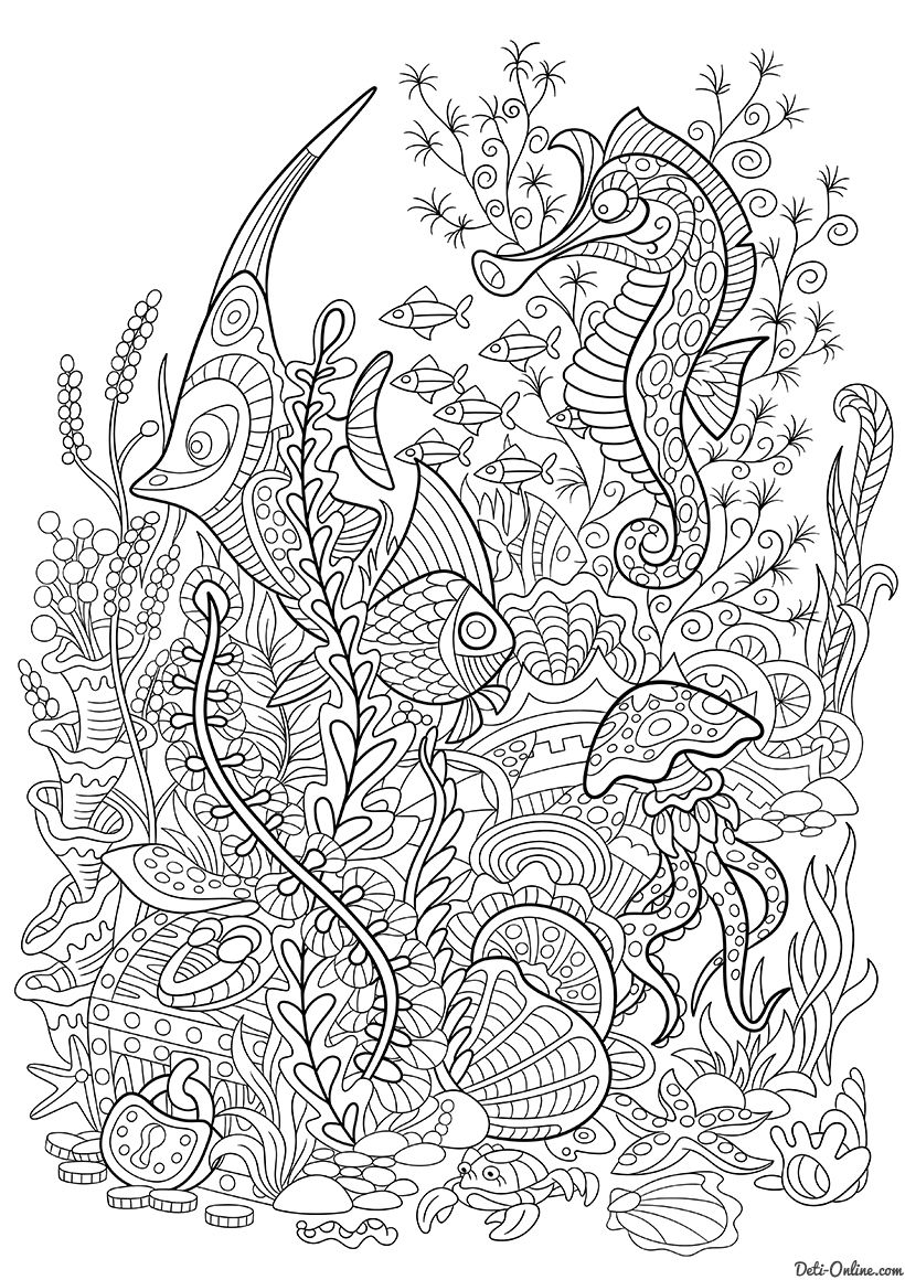 Under the sea coloring book for adults - Under The Sea Coloring Page