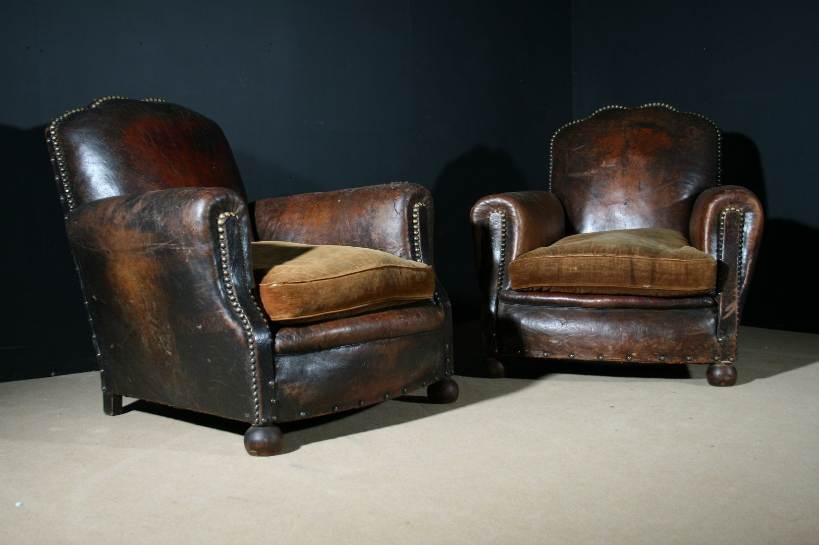 Antique French Leather Club Chairs