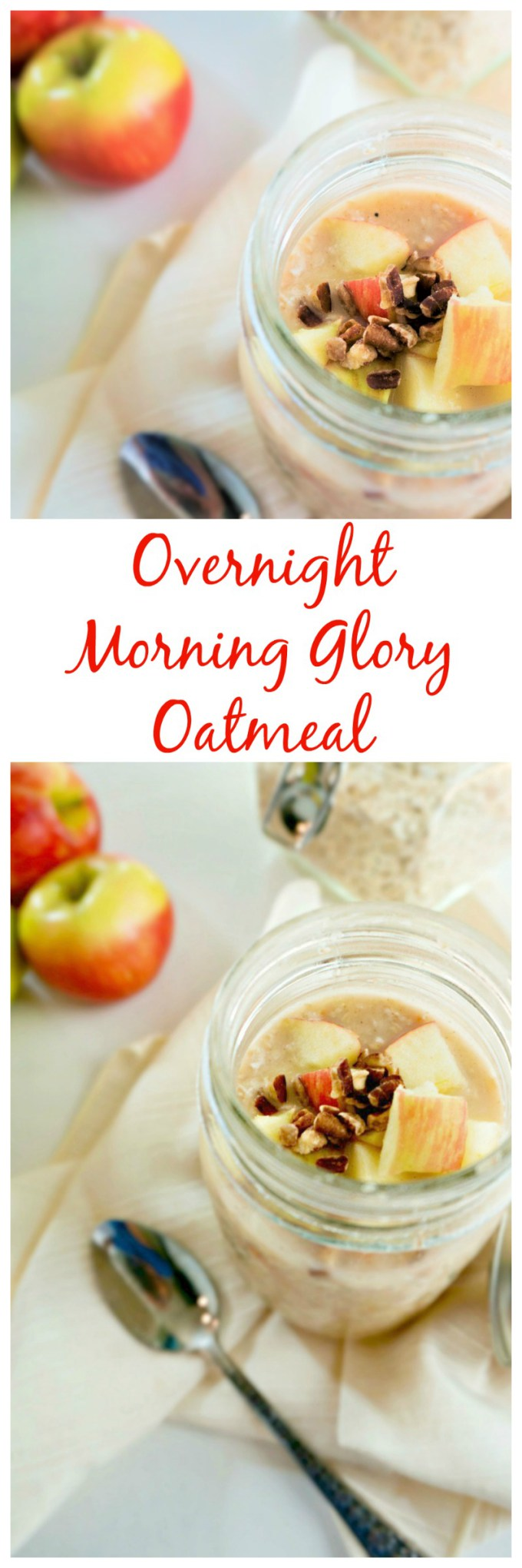 Morning Glory Oatmeal: Enjoy the traditional flavors of Morning Glory Oatmeal in a no-cook oatmeal form for an easy, healthy, breakfast. Perfect for incorporating more fruit and veggies into your diet and for prep-ahead meals. #dairyfree #glutenfree