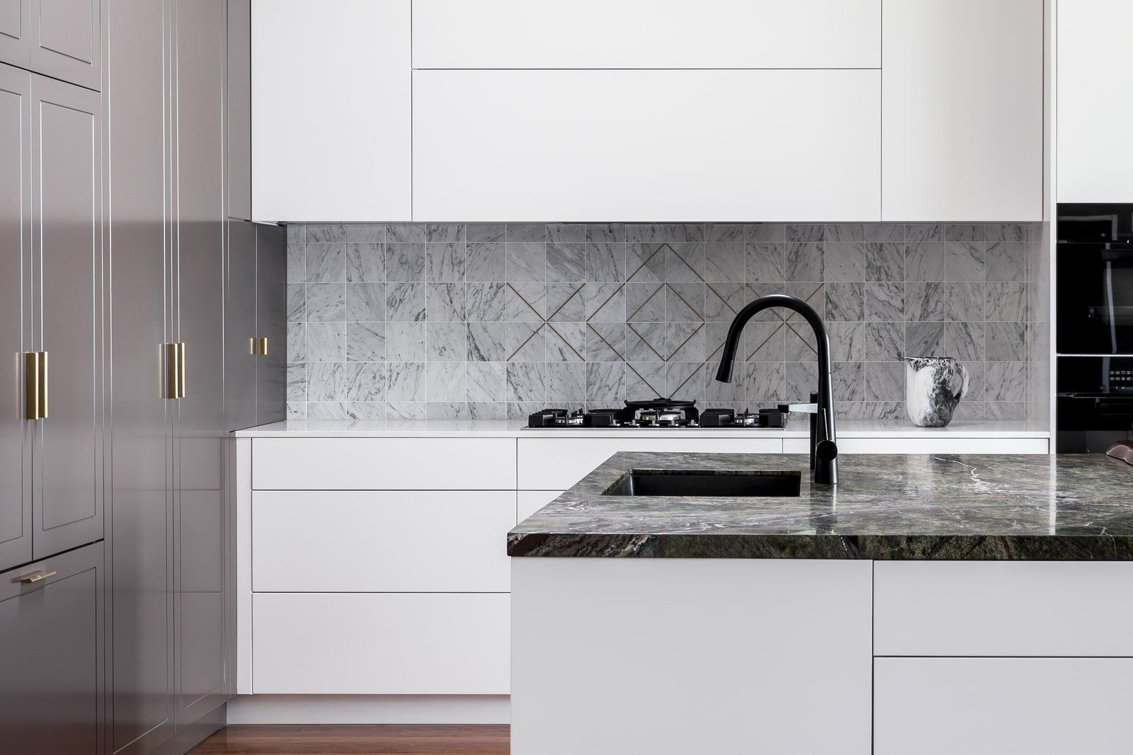 Kitchens Drummoyne Kitchen Dark Hardwood Floor Undermount Sink Wall Oven White