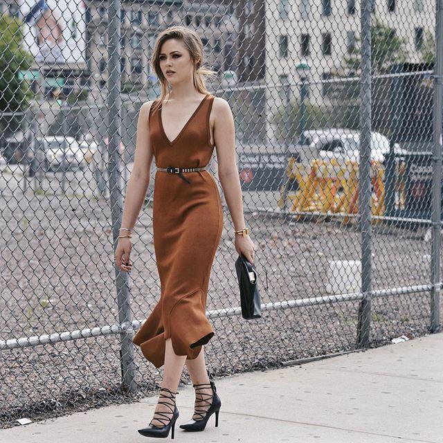 Kristina Bazan NYFW Brown dress and lace-up heels <3