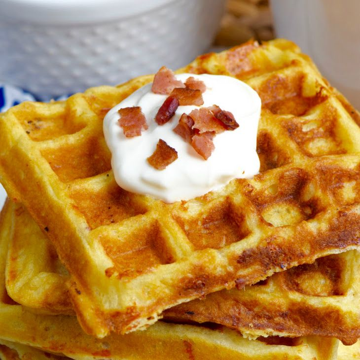 Bacon Cheddar Sour Cream Waffles Recipe Yummly Recipe Perfect Breakfast Recipes Waffle Recipes Bacon Cheddar