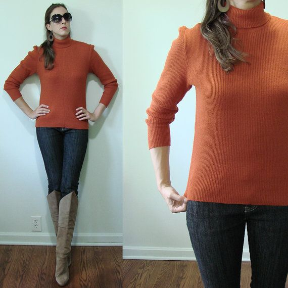 Vintage PUMPKIN Orange 1960's Fitted Ribbed Long Sleeve Sweater Small Romanian by MyGrayCatVintage, $22.00