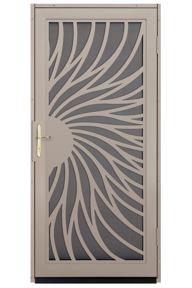 Unique Home Designs 36 In. Solstice Tan Surface Mount Steel Security Door  With Insect Screen And Nickel Hardware, Powder Coat Tan