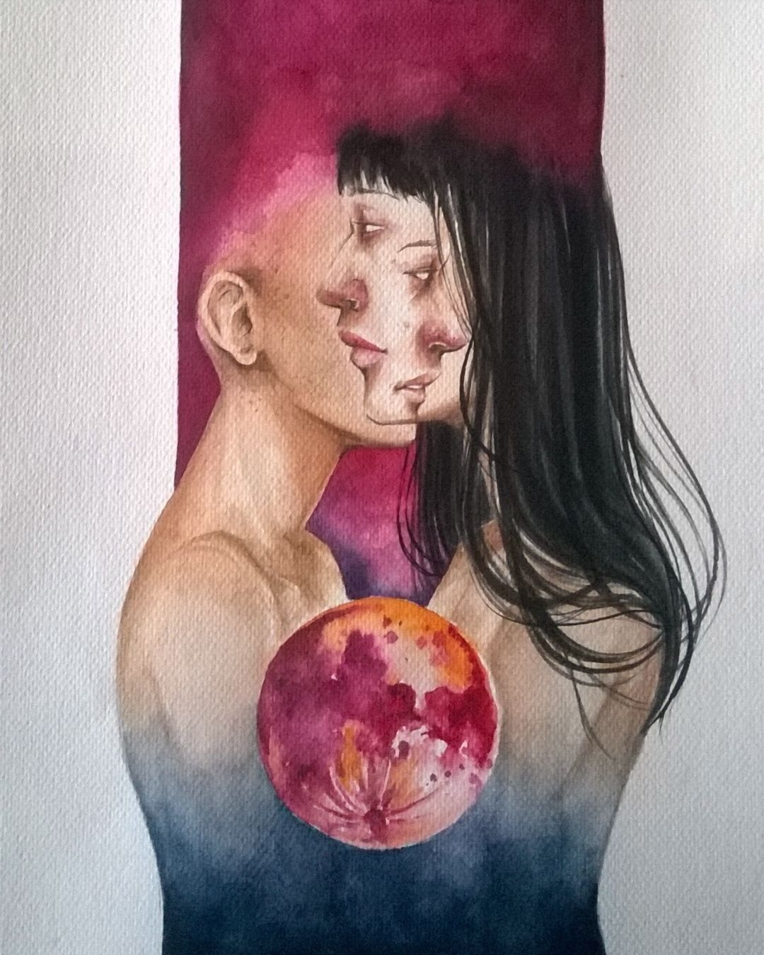 I want you to remove this sense of loneliness #watercolor #art #drawing #doubleexposure by mawardp