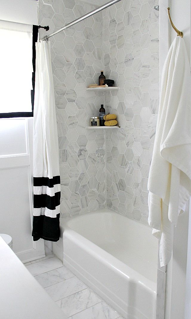 shower makeover with hexagon Carrara marble, white epoxy on tub, new ...