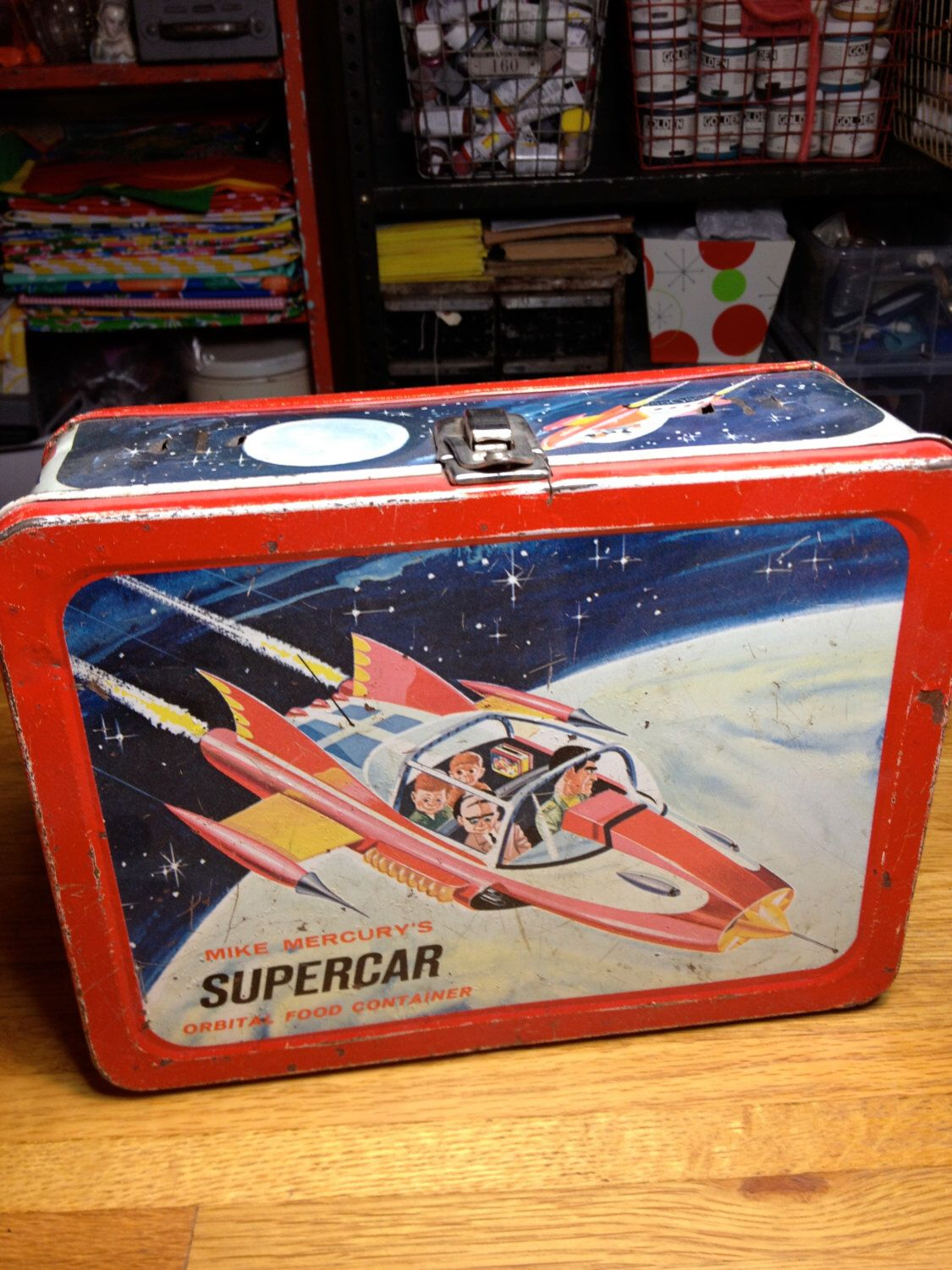 1962 Independant Television Corp Mike Mercury Supercar Orbital Food Metal Lunch Box Lunchbox Lunch Box Metal Lunch Box Super Cars