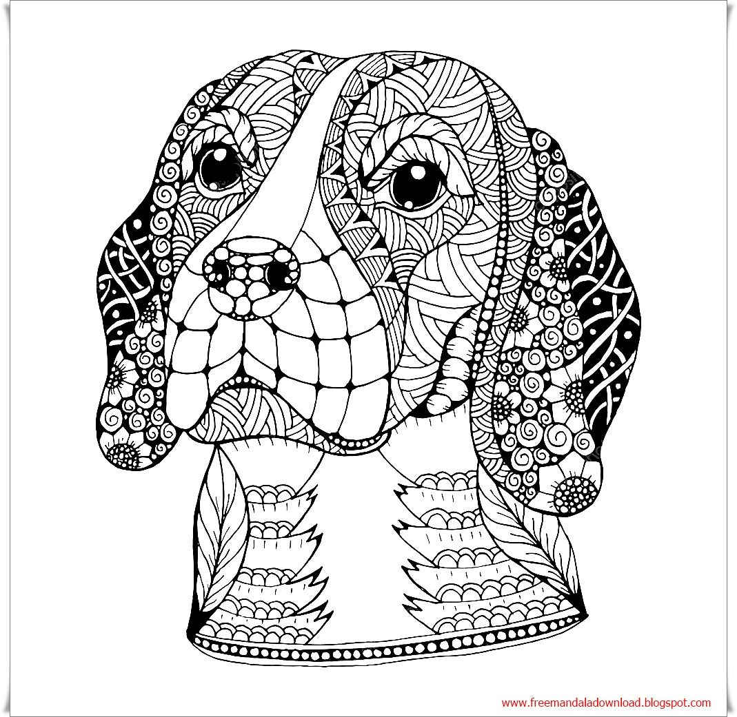 Dog Head Zentangle Dog Mandala Free Free Mandala Dog Coloring Book Beagle Art Dog Coloring Page