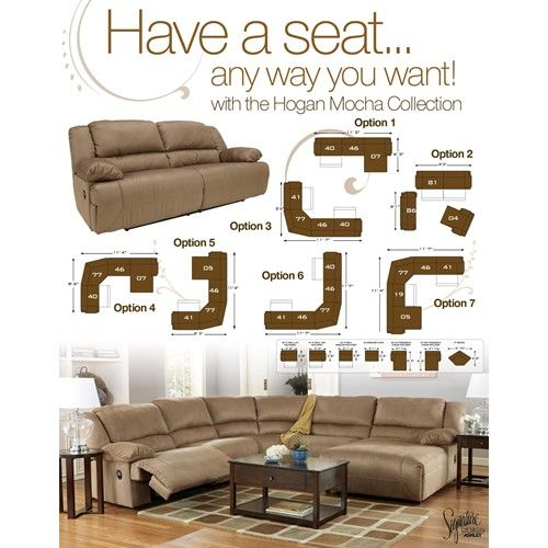 Signature Design by Ashley Furniture Hogan - Mocha 5 Piece Motion Sectional with Right Chaise - Samu0027s Appliance u0026 Furniture - Reclining Sectional Sofa  sc 1 st  Pinterest : ashley furniture hogan sectional - Sectionals, Sofas & Couches