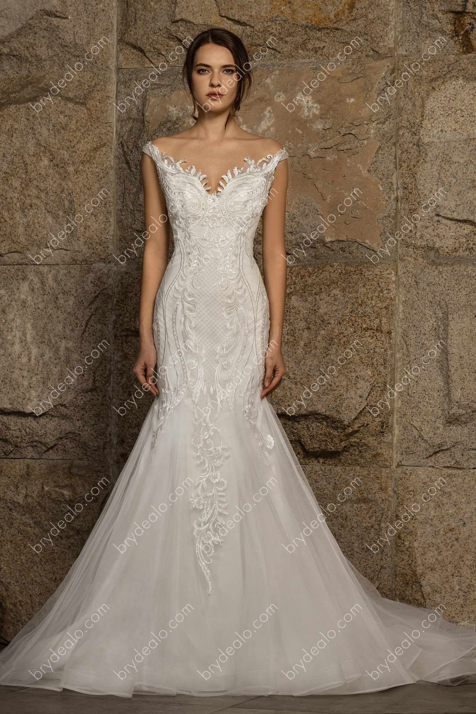 Elegant Illusion Back Mermaid Wedding Dress In 2021 Wedding Gowns Mermaid Mermaid Wedding Dress Sheer Wedding Dress [ 2700 x 1800 Pixel ]