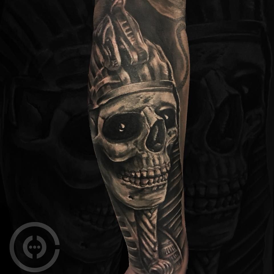 Egyptian Skull Tattoo By Henrique Availability At Holy Trinity Tattoo Studio Trinity Tattoo Tattoo Studio Holy Trinity Tattoo