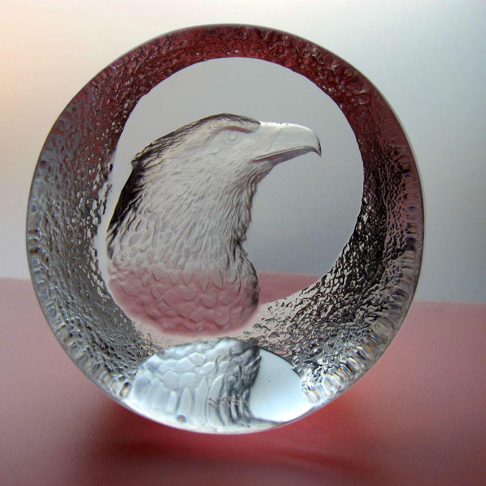Mats Jonasson Schweden Schwedische Glaskunst Adlerkopf Kristallglas Glasriket