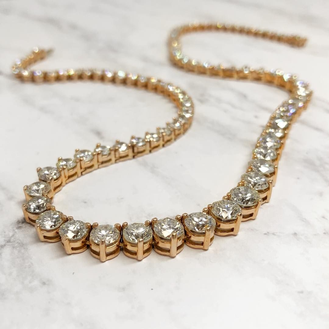 Rose Gold Diamond Graduated Tennis Necklace Unique And Stunning Rose Gold Diamond Necklace Jewelry Diamond Instagram