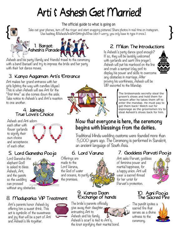Modern Hindu Wedding Program 1 Page Design Wedding Schedule