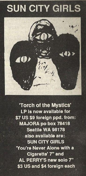 sun city girls 1990... - (forced exposure fanzine #16)(magazine ad)(torch of the mystics)(majora)
