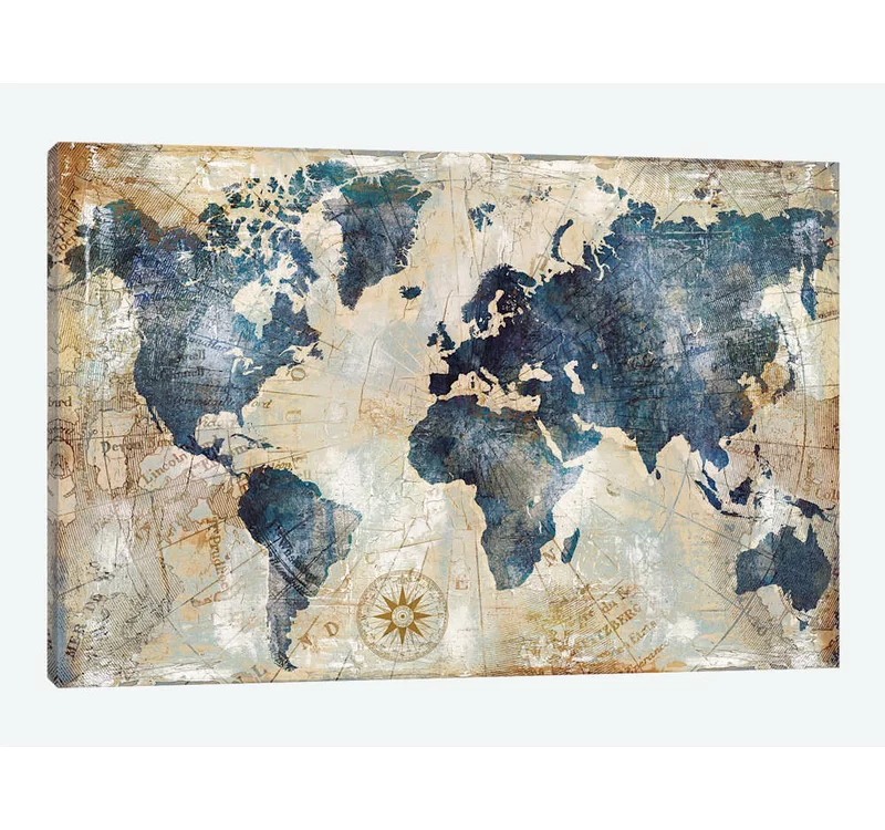 World Map Indigo By Xander Blue Wrapped Canvas Print In 2020 Map Wall Art Blue Wall Art Wall Art Canvas Prints